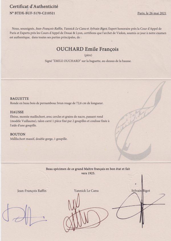 Zertifikat Cabinet Raffin Bogen Violine Emile François Ouchard