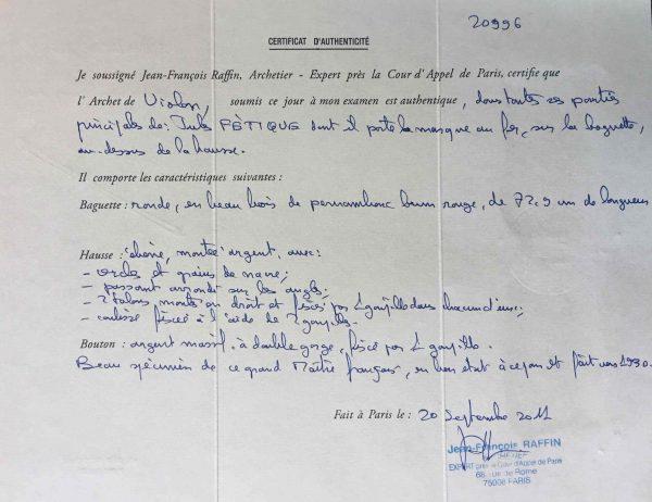 Violinbogen Jules Fétique Zertifikat