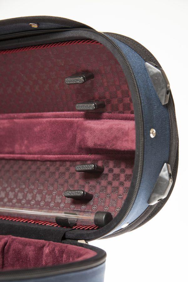Maurizio Riboni Zero 86 Violinkoffer außen Blau & innen Bordeaux NIC Mosaik Muster ND innen