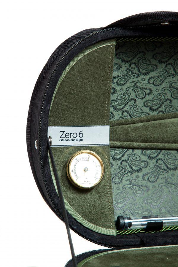 Maurizio Riboni Zero 6 Violinkoffer außen Schwarz & innen Grün NIC Paisley Muster CA