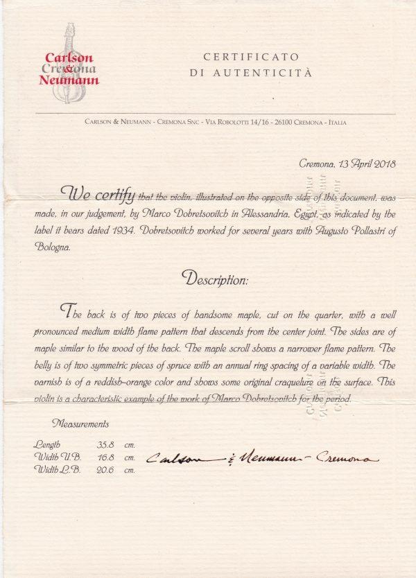 Zertifikat Violine Marco Dobrestovich